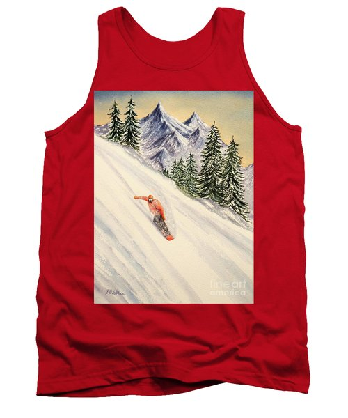 Tank Top featuring the painting Snowboarding Free And Easy by Bill Holkham
