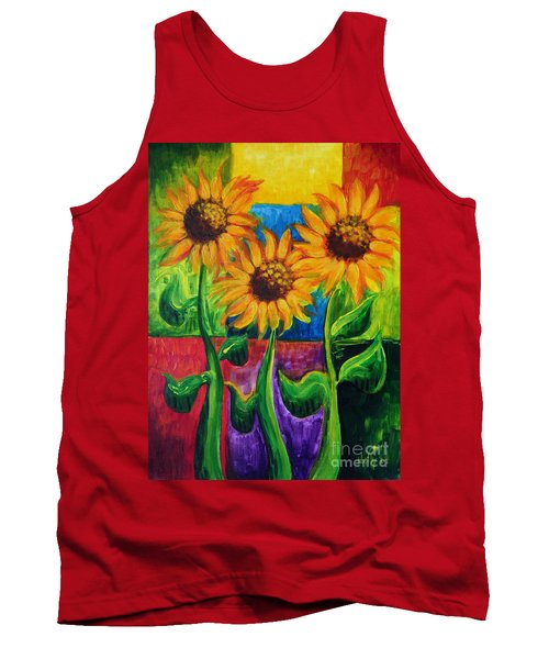 Tank Top featuring the painting Sonflowers II by Holly Carmichael
