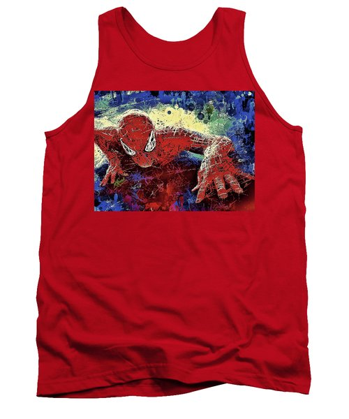 Tank Top featuring the mixed media Spiderman Climbing  by Al Matra