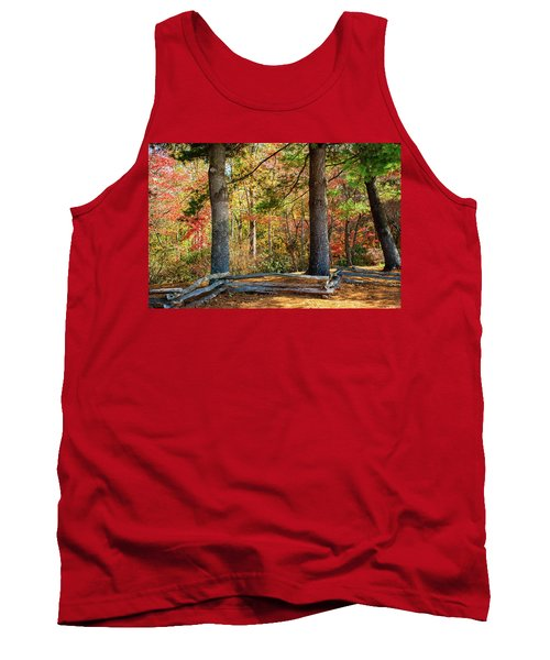 Split Rail Fence And Autumn Leaves Tank Top