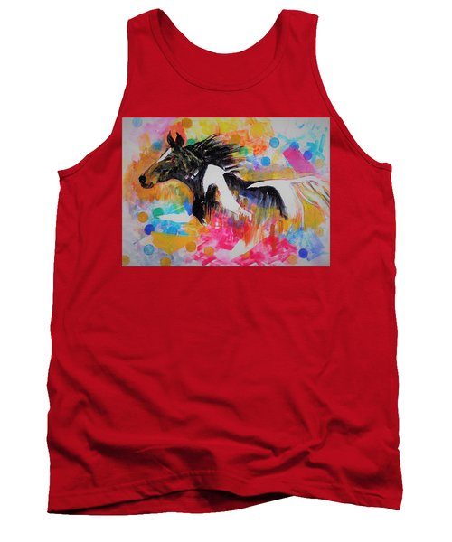 Stallion In Abstract Tank Top by Khalid Saeed
