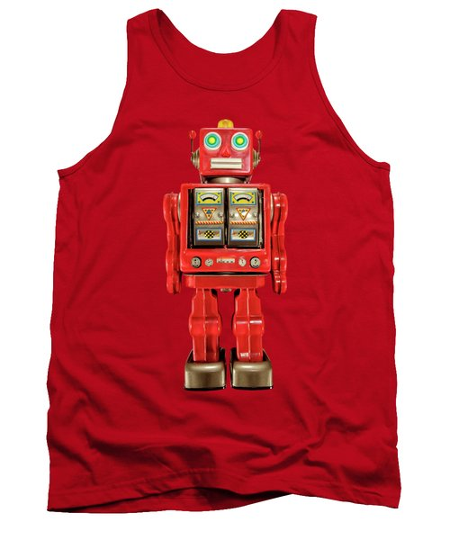 Star Strider Robot Red On Black Tank Top by YoPedro