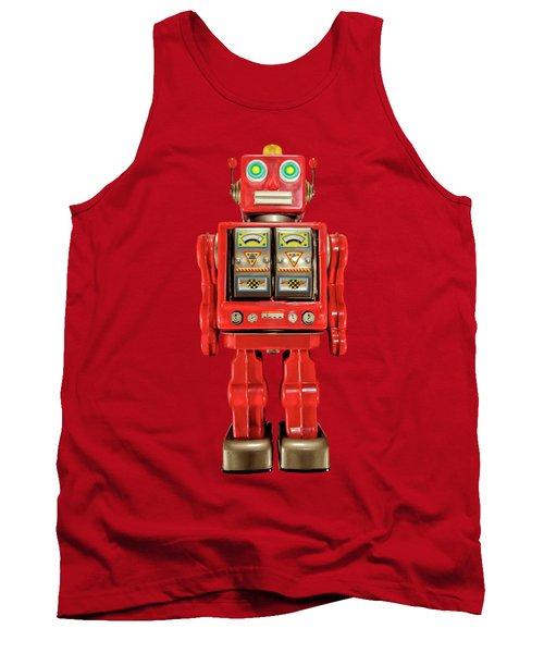 Star Strider Robot Red On Black Tank Top
