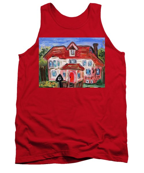 Tank Top featuring the painting Stately City House by Mary Carol Williams