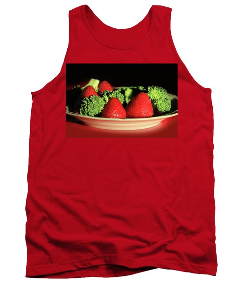 Strawberries And Broccoli Tank Top by Lori Deiter