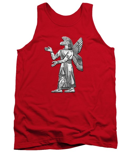 Sumerian Deities - Silver God Ninurta Over Red Canvas Tank Top