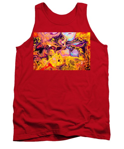 Summer Play  - Abstract Colorful Mixed Media Painting Tank Top