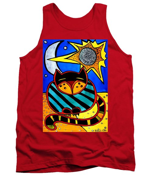 Sun And Moon - Honourable Cat - Art By Dora Hathazi Mendes Tank Top