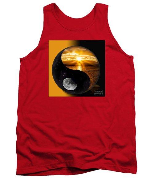 Sun And Moon - Yin And Yang Tank Top by Shirley Mangini