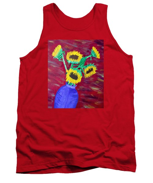 Sunflowers In A Purple Vase Tank Top