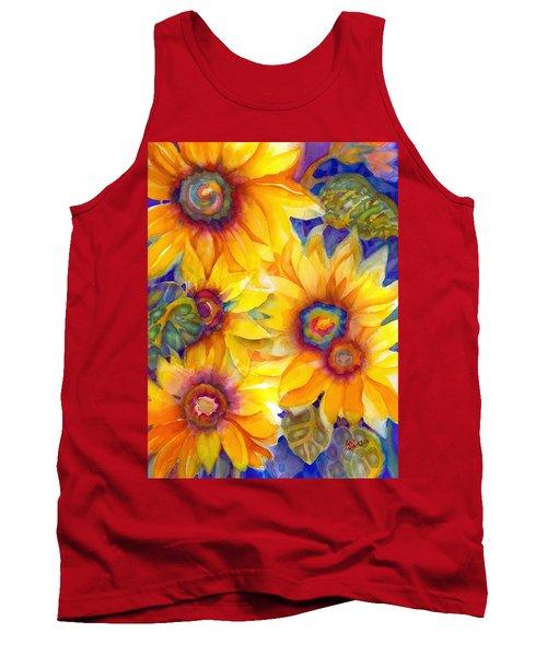 Sunflowers On Blue II Tank Top