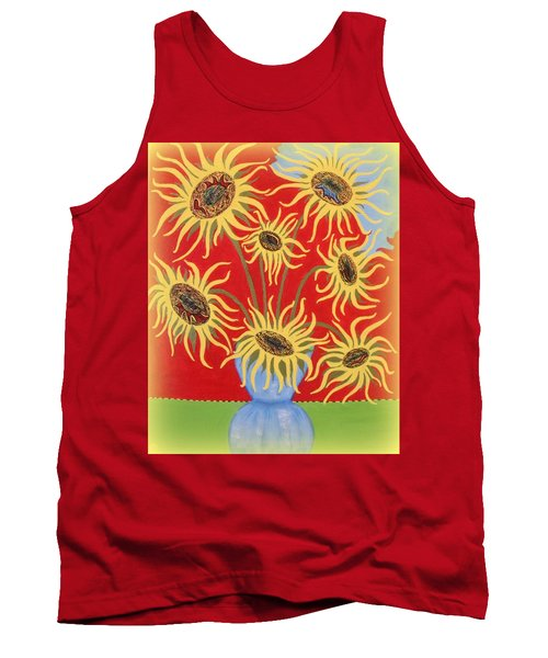 Sunflowers On Red Tank Top by Marie Schwarzer