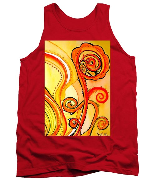 Tank Top featuring the painting Sunny Flower - Art By Dora Hathazi Mendes by Dora Hathazi Mendes