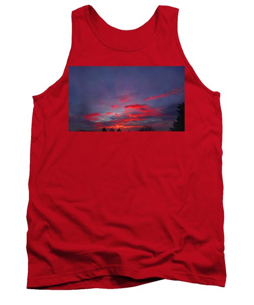 Tank Top featuring the digital art Sunrise Abstract, Red Oklahoma Morning by Shelli Fitzpatrick