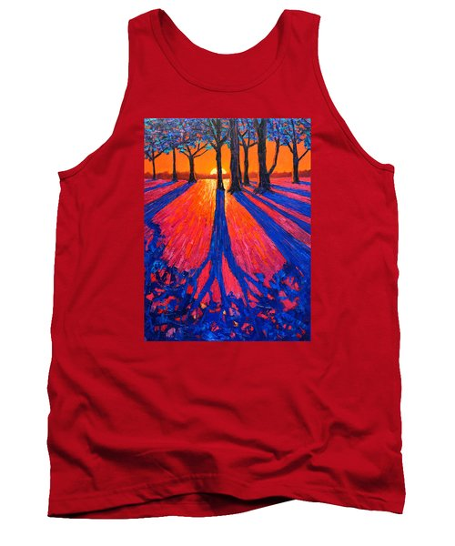 Sunrise In Glory - Long Shadows Of Trees At Dawn Tank Top by Ana Maria Edulescu