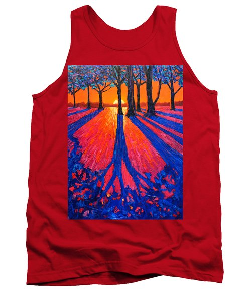 Sunrise In Glory - Long Shadows Of Trees At Dawn Tank Top
