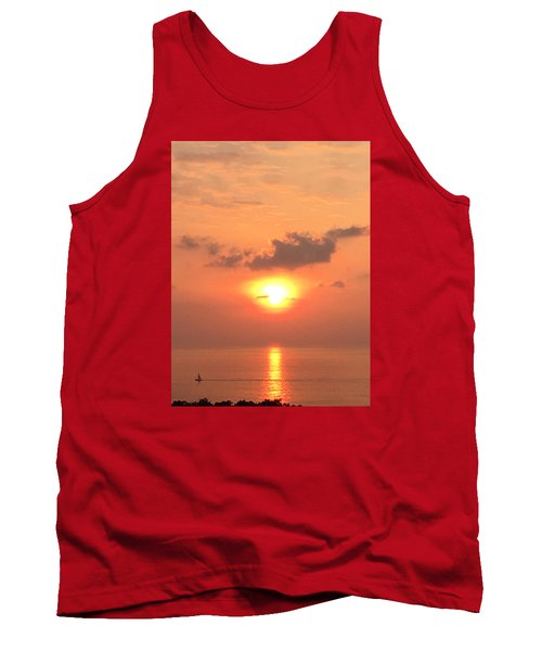 Sunset And Sailboat Tank Top by Karen Nicholson