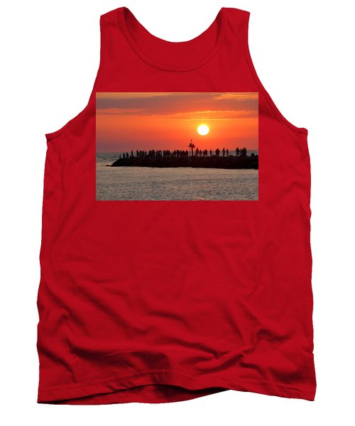 Sunset At The South Jetty, Venice, Florida, Usa Tank Top