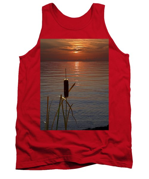Sunset Cattail Tank Top by Judy Johnson