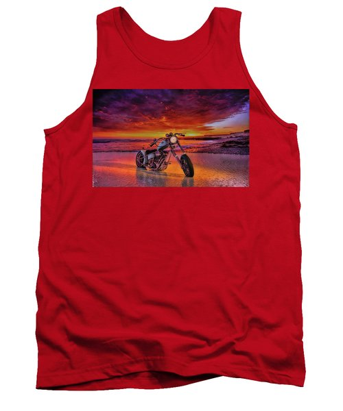 Tank Top featuring the photograph sunset Custom Chopper by Louis Ferreira
