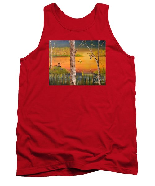 Tank Top featuring the painting Sunset Fishing by Denise Tomasura