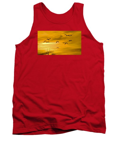 Tank Top featuring the photograph Sunset Fliers by Wanda Krack