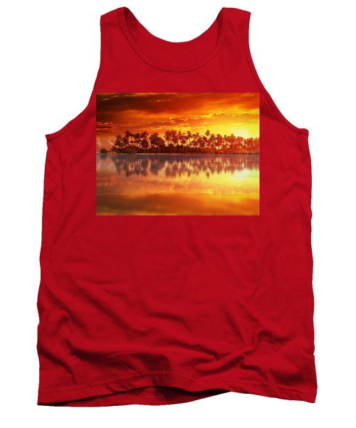 Tank Top featuring the mixed media Sunset In Paradise by Gabriella Weninger - David