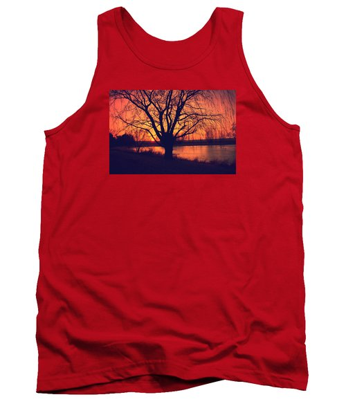 Sunset On Willow Pond Tank Top by Kathy M Krause