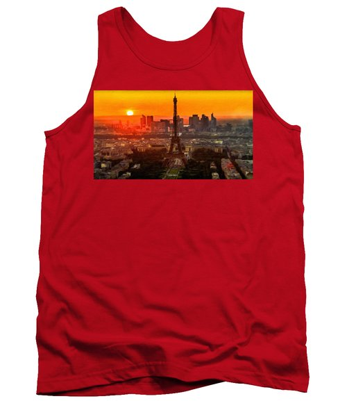 Sunset Over Eiffel Tower Tank Top