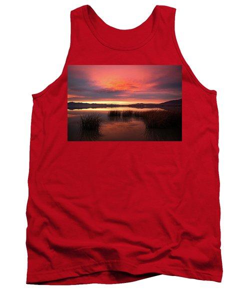 Sunset Reeds On Utah Lake Tank Top