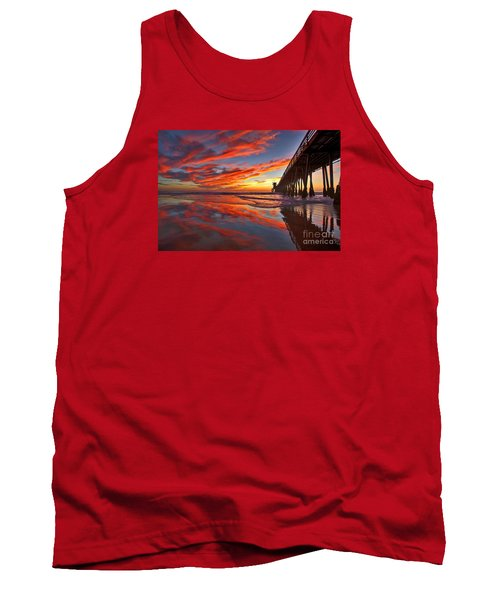 Sunset Reflections At The Imperial Beach Pier Tank Top by Sam Antonio Photography
