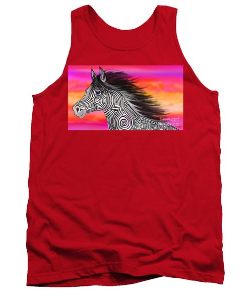 Tank Top featuring the painting Sunset Ride Tribal Horse by Nick Gustafson