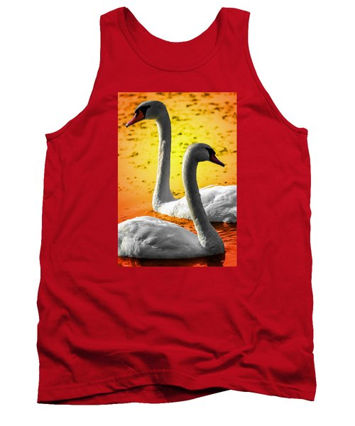 Tank Top featuring the photograph Sunset Swans 2 by Brian Stevens