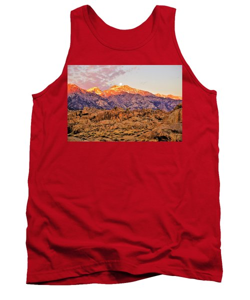 Supermoon Setting At Sunrise Over Mount Williamson In The Sierra Nevada Mountains Tank Top