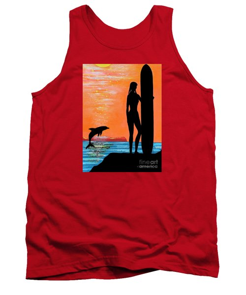Surfer Girl With Dolphin Tank Top
