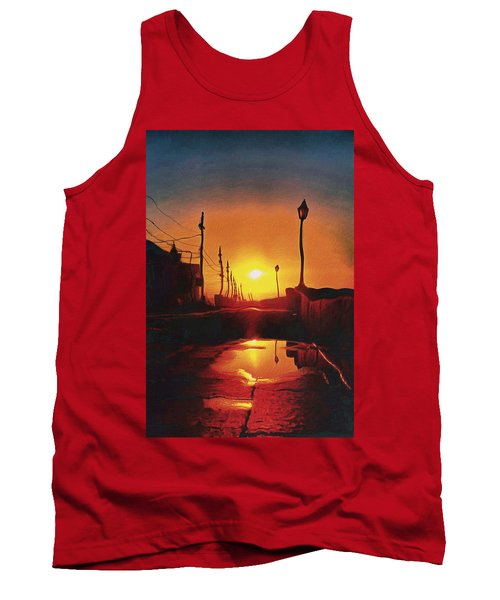 Surreal Cityscape Sunset Tank Top by Anton Kalinichev