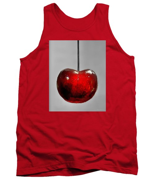Tank Top featuring the photograph Suspended Cherry by Suzanne Stout