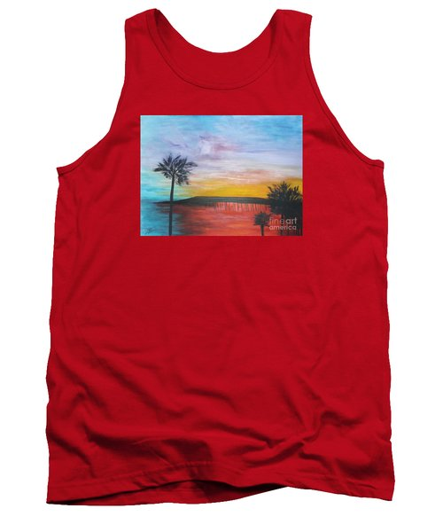 Tank Top featuring the painting Table On The Beach From The Water Series by Donna Dixon
