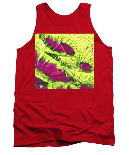 Taro Leaves In Green And Red Tank Top