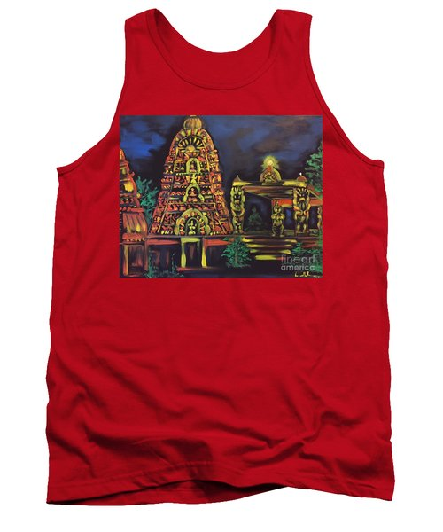 Tank Top featuring the painting Temple Lights In The Night by Brindha Naveen