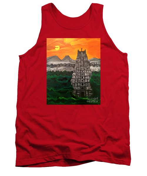 Tank Top featuring the painting Temple Near The Hills by Brindha Naveen