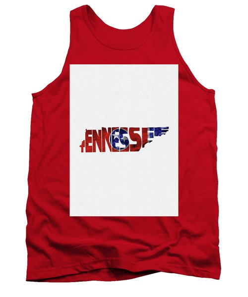 Tennessee Typographic Map Flag Tank Top