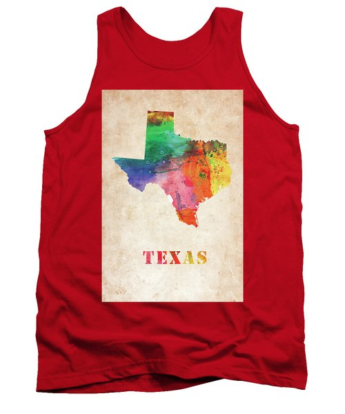 Texas Colorful Watercolor Map Tank Top