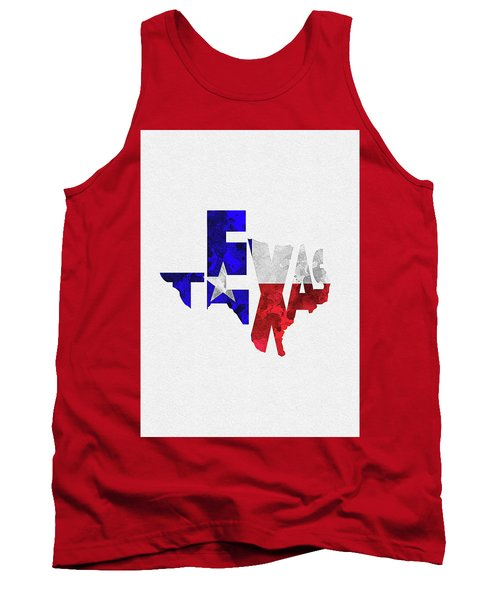 Texas Typographic Map Flag Tank Top