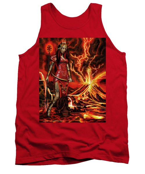 Tank Top featuring the painting The Goodess Pele Of Hawaii by James Christopher Hill
