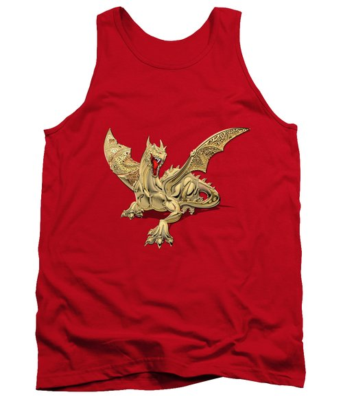 The Great Dragon Spirits - Golden Guardian Dragon On Red And Black Canvas Tank Top by Serge Averbukh