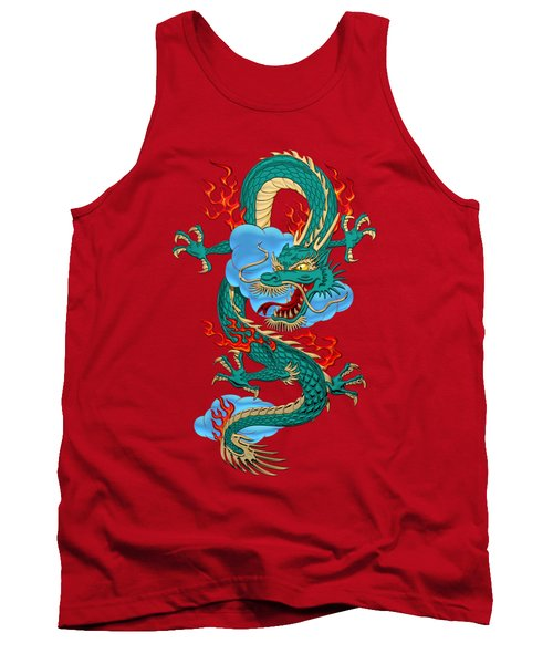 The Great Dragon Spirits - Turquoise Dragon On Red Silk Tank Top by Serge Averbukh