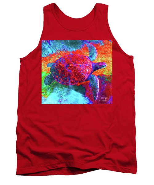 The Great Sea Turtle In Abstract Tank Top