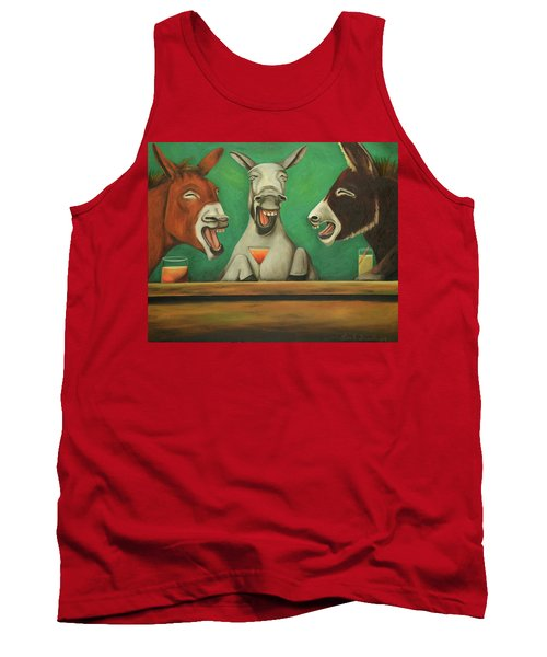 Tank Top featuring the painting The Laughing Donkeys by Leah Saulnier The Painting Maniac