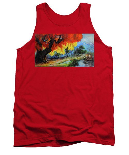 The Red Tree And The Lake  Tank Top